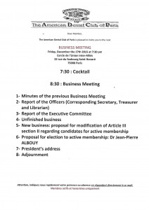 BUSINESS MEETING 17 DECEMBRE 2015